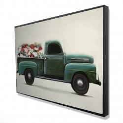 Framed 24 x 36 - 3D - Flowers farm truck
