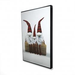 Framed 24 x 36 - 3D - Three christmas gnomes