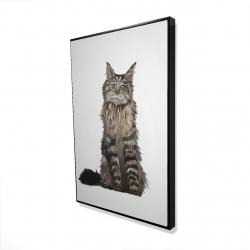 Framed 24 x 36 - 3D - Maine coon cat