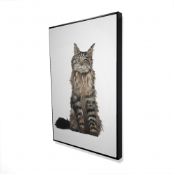 Framed 24 x 36 - 3D - Maine coon cat