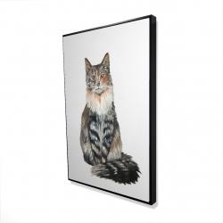 Framed 24 x 36 - 3D - Norwegian forest cat