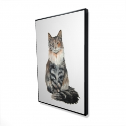 Framed 24 x 36 - 3D - Norwegian forest cat