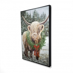 Framed 24 x 36 - 3D - Highland christmas cow