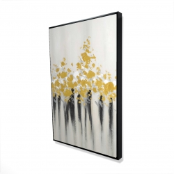 Framed 24 x 36 - 3D - Abstract gold flowers