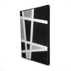 Framed 24 x 36 - 3D - Black and white abstract lines