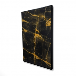 Framed 24 x 36 - 3D - Black and gold marble texture