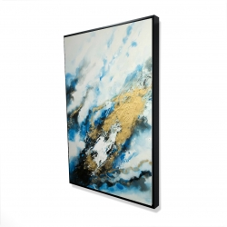 Framed 24 x 36 - 3D - Blue and gold marble