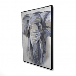 Framed 24 x 36 - 3D - Pastel blue elephant