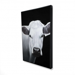 Framed 24 x 36 - 3D - White cow