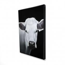 Framed 24 x 36 - 3D - White cow