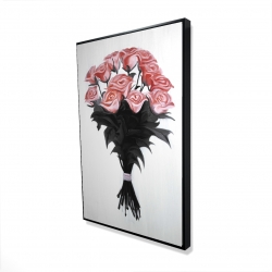 Framed 24 x 36 - 3D - Bouquet of coral roses