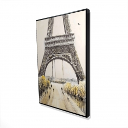 Framed 24 x 36 - 3D - Eiffel tower with flying birds