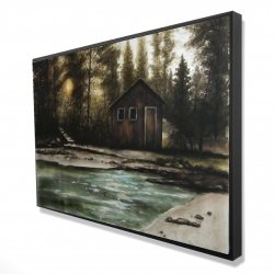 Framed 24 x 36 - 3D - Cabin in the forest