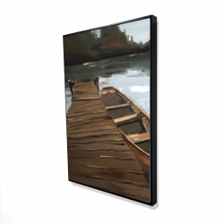 Framed 24 x 36 - 3D - Lake, dock and boat