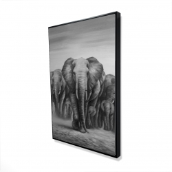 Framed 24 x 36 - 3D - Herd of elephants