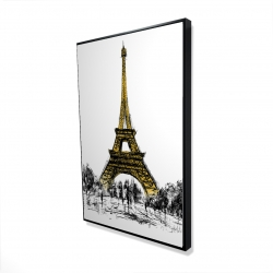 Framed 24 x 36 - 3D - Outline of eiffel tour