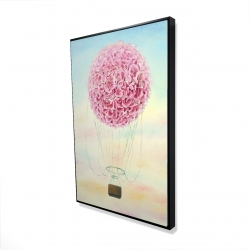 Framed 24 x 36 - 3D - Hot air balloon hydrangea flowers