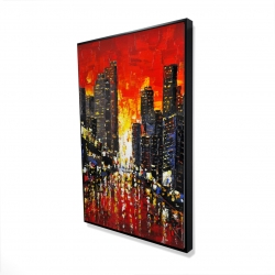 Framed 24 x 36 - 3D - Abstract sunset on the city