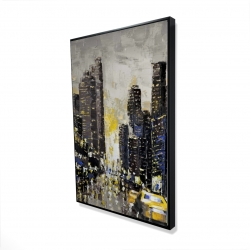 Framed 24 x 36 - 3D - Abstract and texturized city with yellow taxis
