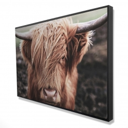Framed 24 x 36 - 3D - Desaturated highland cow