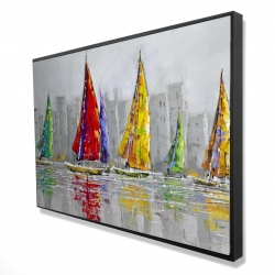 Framed 24 x 36 - 3D - Sailboats in the wind