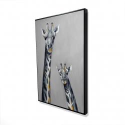 Framed 24 x 36 - 3D - Steel blue giraffe