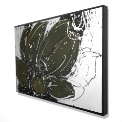 Framed 24 x 36 - 3D - Abstract flower with paint splash