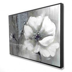 Framed 24 x 36 - 3D - Monochrome and silver flowers
