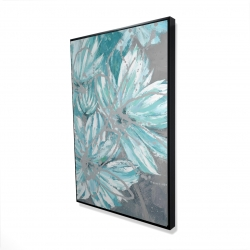 Framed 24 x 36 - 3D - Three little abstract blue flowers