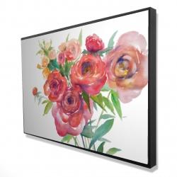 Framed 24 x 36 - 3D - Watercolor bouquet of flowers