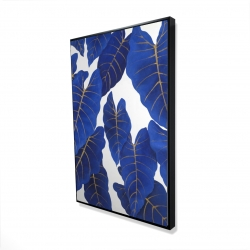 Framed 24 x 36 - 3D - Tropical abstract blue leaves