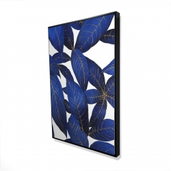 Framed 24 x 36 - 3D - Abstract modern blue leaves