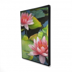 Framed 24 x 36 - 3D - Water lilies and lotus flowers