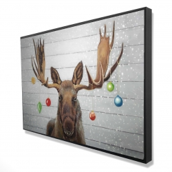 Framed 24 x 36 - 3D - Moose has christmas balls