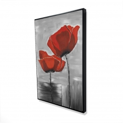 Framed 24 x 36 - 3D - Two red flowers on a grayscale background