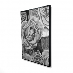 Framed 24 x 36 - 3D - Grayscale roses