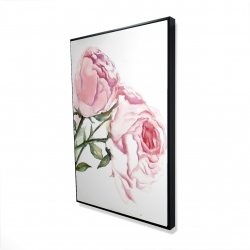 Framed 24 x 36 - 3D - Watercolor pink roses