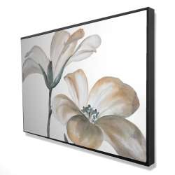 Framed 24 x 36 - 3D - Beautiful desaturated flowers