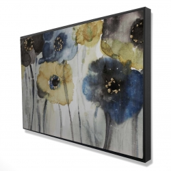 Framed 24 x 36 - 3D - Gray blue and yellow flowers