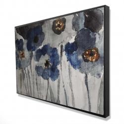 Framed 24 x 36 - 3D - Blue blurry flowers