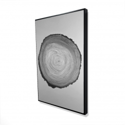 Framed 24 x 36 - 3D - Grayscale round wood log