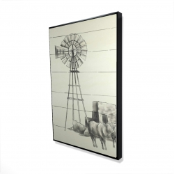 Framed 24 x 36 - 3D - Vintage old texas windmill