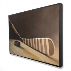 Framed 24 x 36 - 3D - Stick and hockey puck