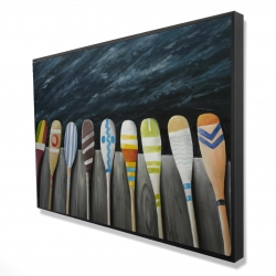Framed 24 x 36 - 3D - Colorful paddles on the dock
