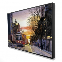 Framed 24 x 36 - 3D - Sunset streetscape to toronto