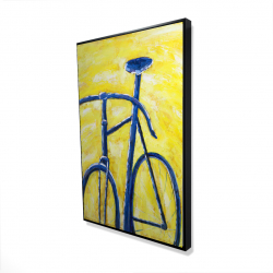 Framed 24 x 36 - 3D - Blue bike on yellow background
