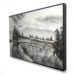 Framed 24 x 36 - 3D - Steam engine train