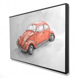 Framed 24 x 36 - 3D - Vintage red beetle