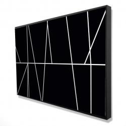 Framed 24 x 36 - 3D - White stripes on black background