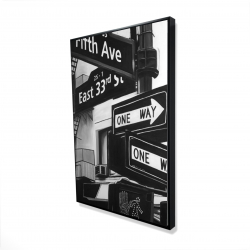 Framed 24 x 36 - 3D - New york city signs in front of an appartment
